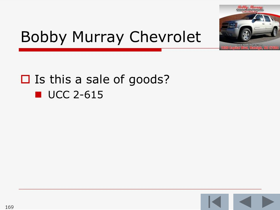 Bobby Murray Chevrolet Is this a sale of goods UCC