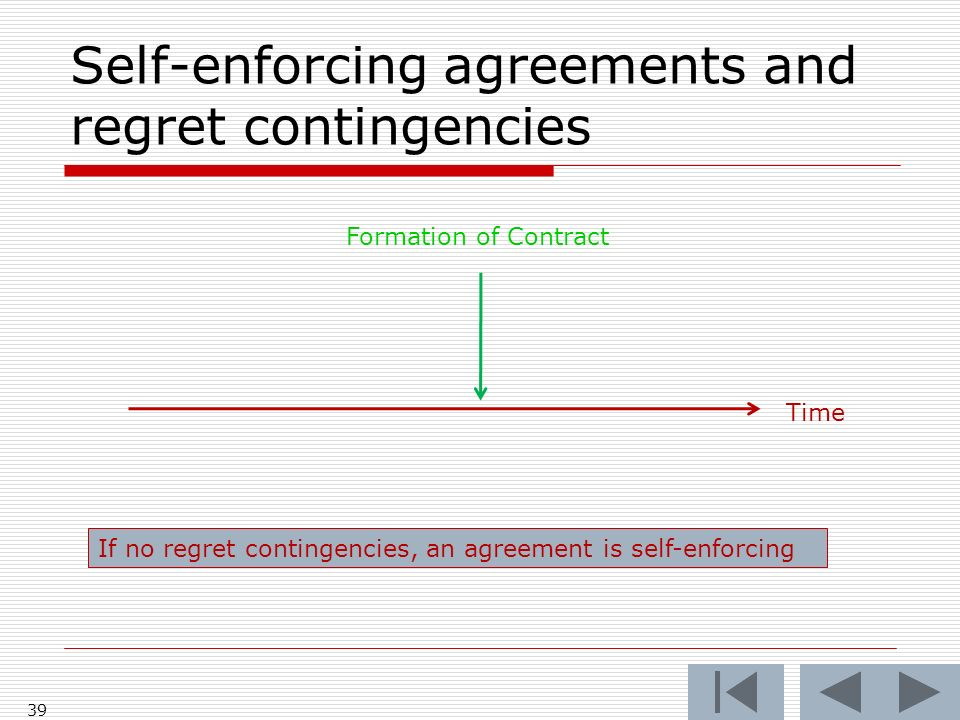 Self-enforcing agreements and regret contingencies 39 Time Formation of Contract If no regret contingencies, an agreement is self-enforcing
