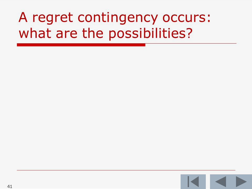 A regret contingency occurs: what are the possibilities 41