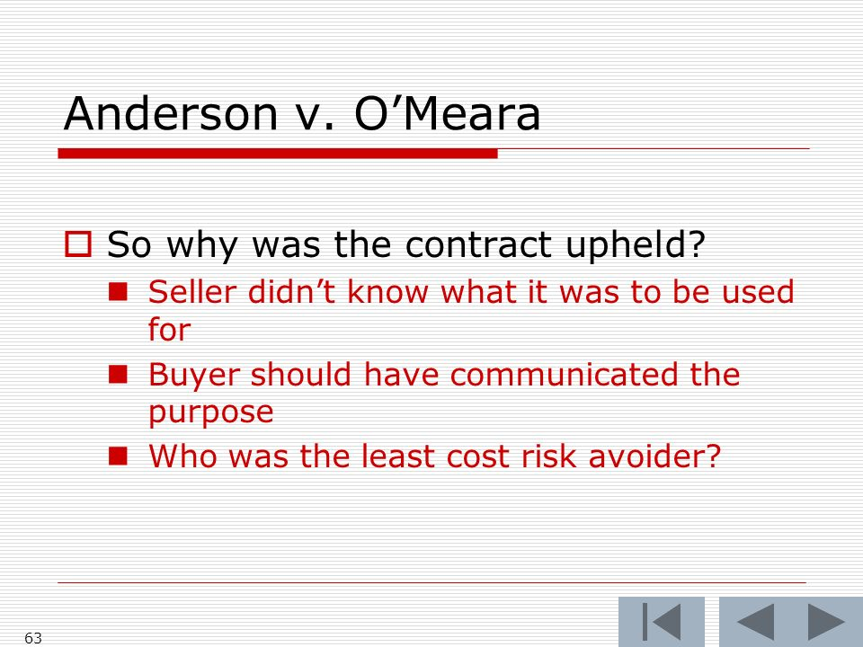 Anderson v. OMeara 63 So why was the contract upheld.