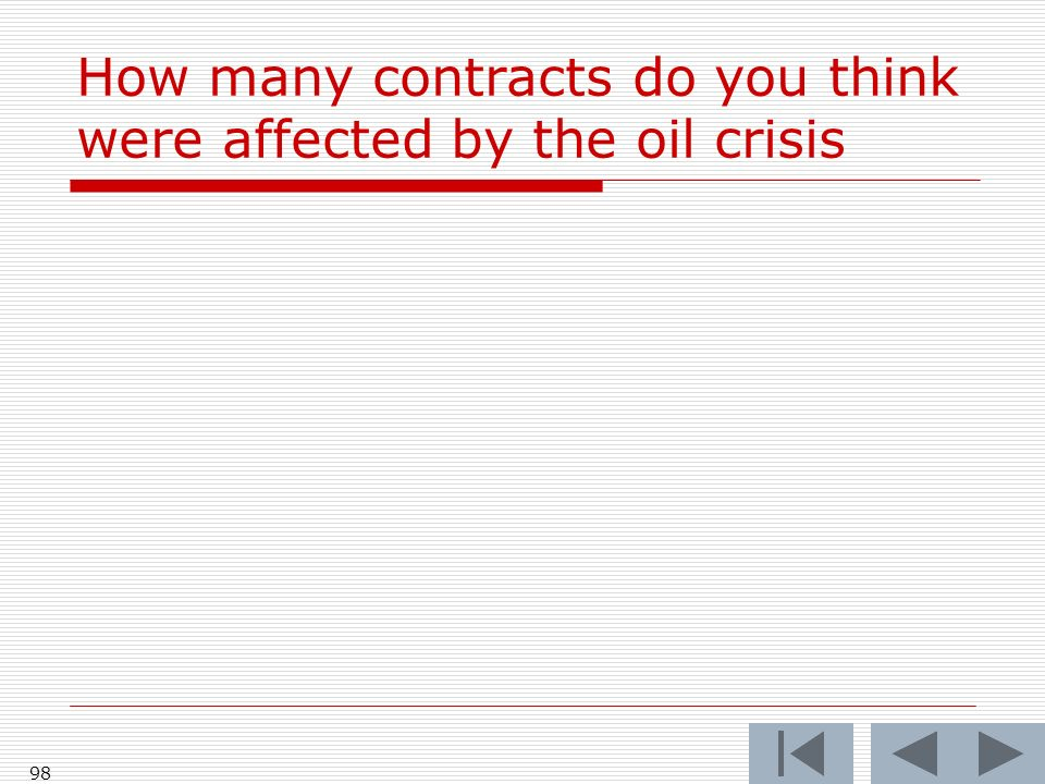 How many contracts do you think were affected by the oil crisis 98