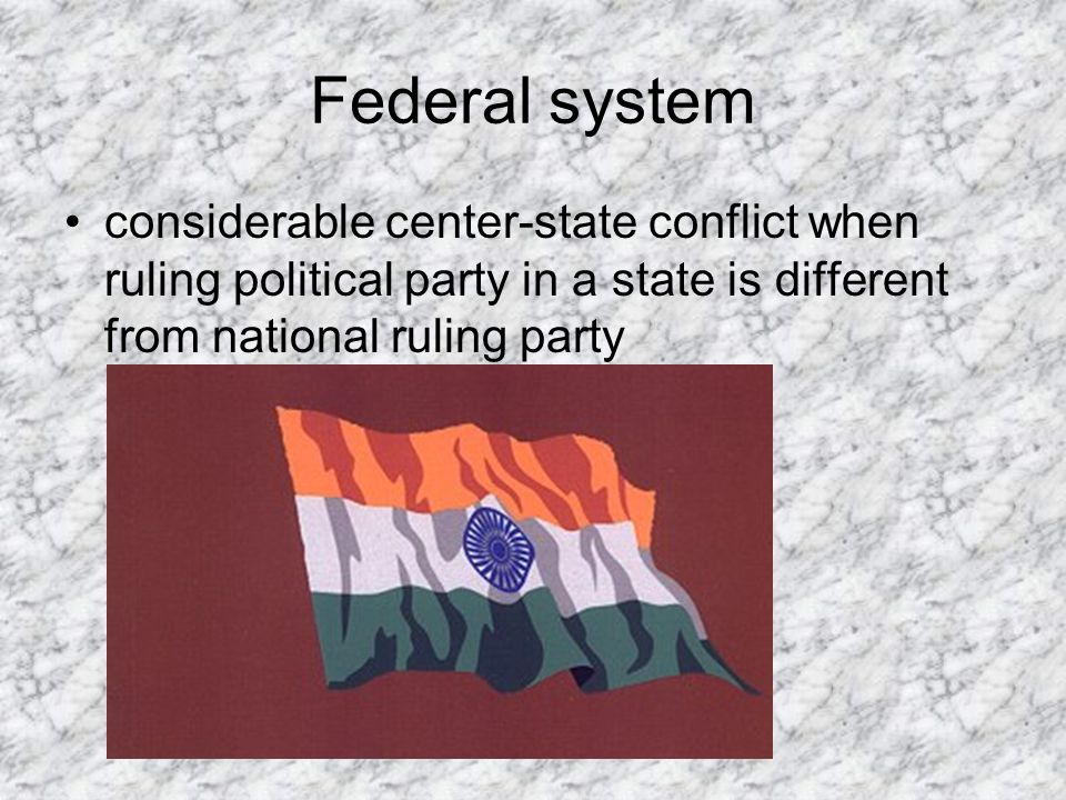 Federal system considerable center-state conflict when ruling political party in a state is different from national ruling party