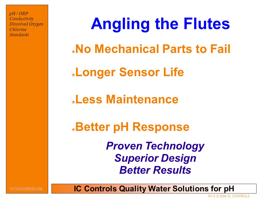 IC Controls Quality Water Solutions for pH   pH / ORP Conductivity Dissolved Oxygen Chlorine Standards R1.0 © 2004 IC CONTROLS Angling the Flutes No Mechanical Parts to Fail Longer Sensor Life Less Maintenance Better pH Response Proven Technology Superior Design Better Results
