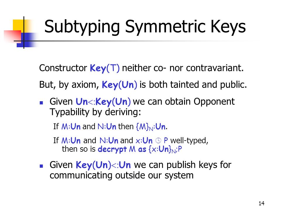 14 Subtyping Symmetric Keys Constructor Key(T) neither co- nor contravariant.
