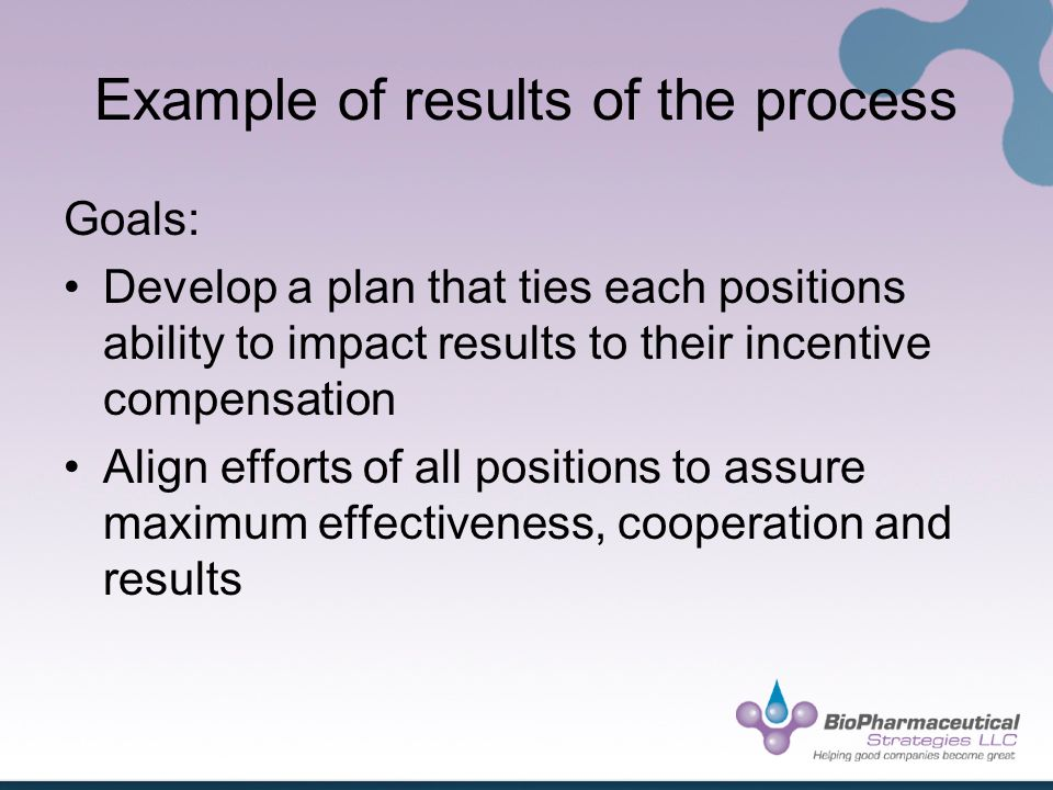 Example of results of the process Goals: Develop a plan that ties each positions ability to impact results to their incentive compensation Align efforts of all positions to assure maximum effectiveness, cooperation and results