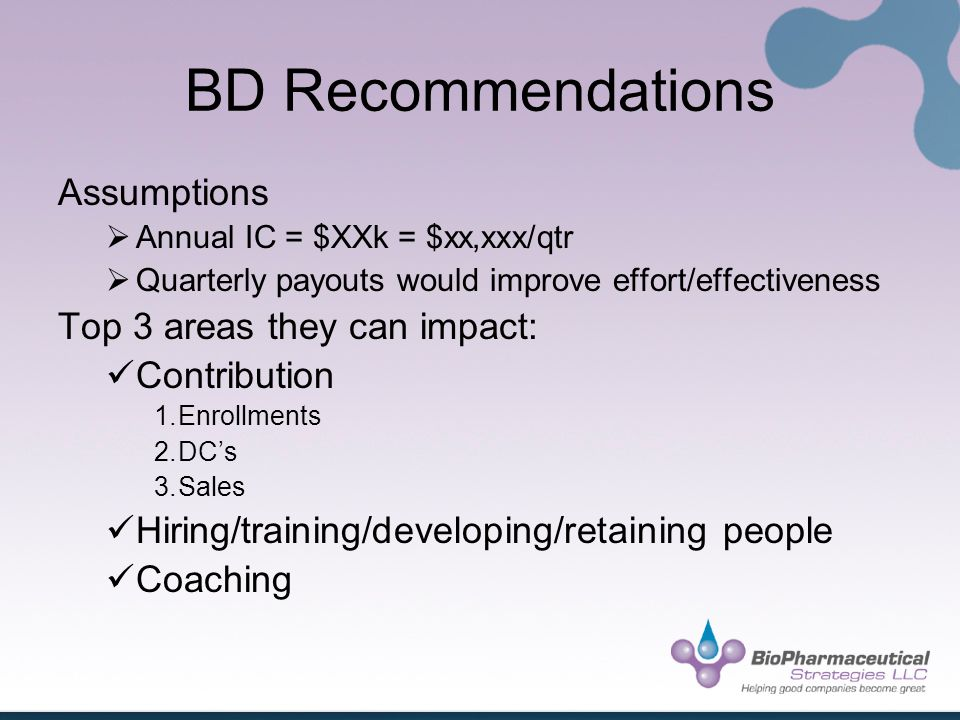 BD Recommendations Assumptions Annual IC = $XXk = $xx,xxx/qtr Quarterly payouts would improve effort/effectiveness Top 3 areas they can impact: Contribution 1.Enrollments 2.DCs 3.Sales Hiring/training/developing/retaining people Coaching