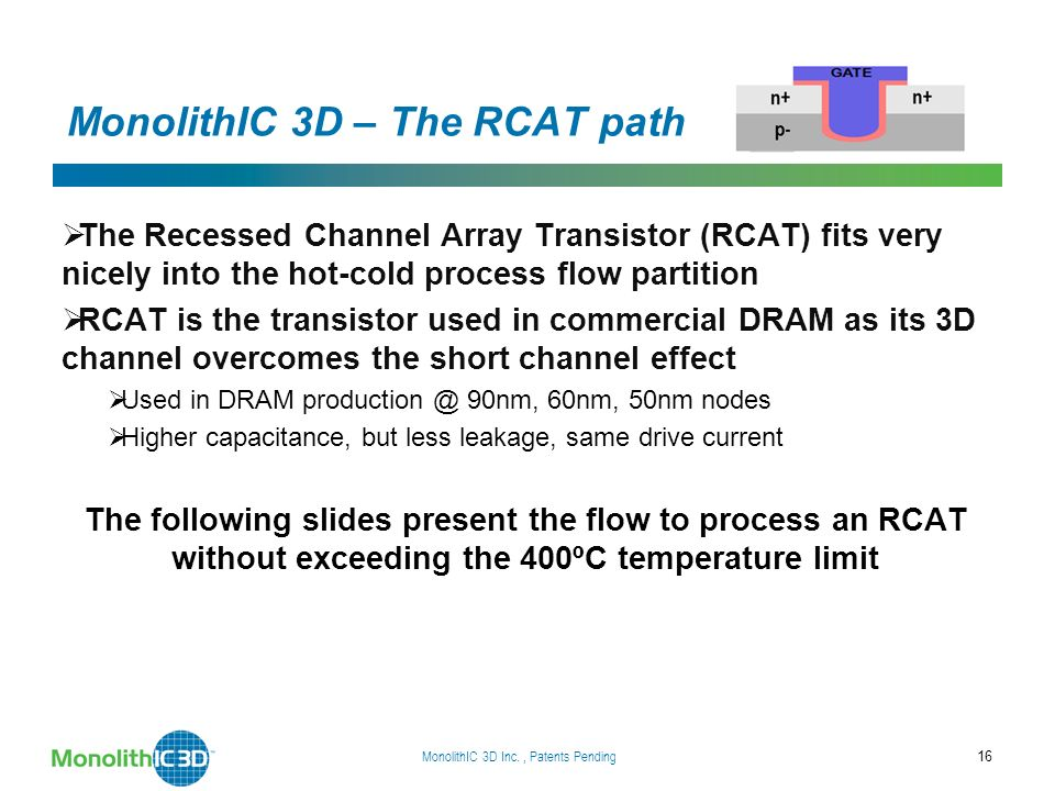 MonolithIC 3D – The RCAT path The Recessed Channel Array Transistor (RCAT) fits very nicely into the hot-cold process flow partition RCAT is the transistor used in commercial DRAM as its 3D channel overcomes the short channel effect Used in DRAM 90nm, 60nm, 50nm nodes Higher capacitance, but less leakage, same drive current The following slides present the flow to process an RCAT without exceeding the 400ºC temperature limit MonolithIC 3D Inc., Patents Pending 16
