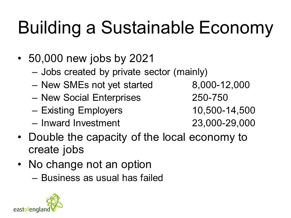 Building a Sustainable Economy 50,000 new jobs by 2021 –Jobs created by private sector (mainly) –New SMEs not yet started 8,000-12,000 –New Social Enterprises –Existing Employers10,500-14,500 –Inward Investment23,000-29,000 Double the capacity of the local economy to create jobs No change not an option –Business as usual has failed