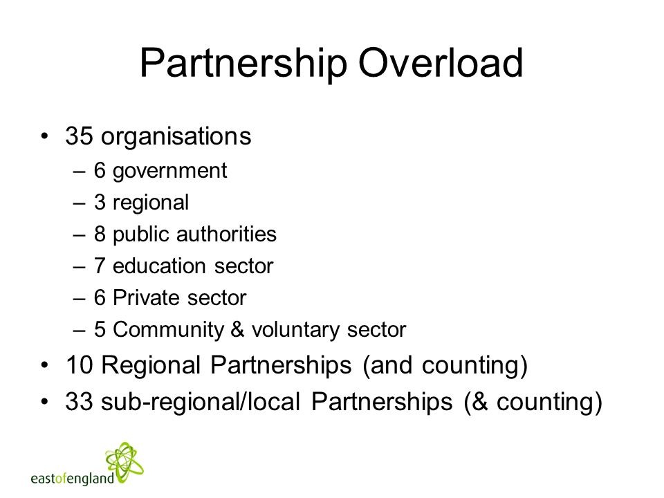 Partnership Overload 35 organisations –6 government –3 regional –8 public authorities –7 education sector –6 Private sector –5 Community & voluntary sector 10 Regional Partnerships (and counting) 33 sub-regional/local Partnerships (& counting)