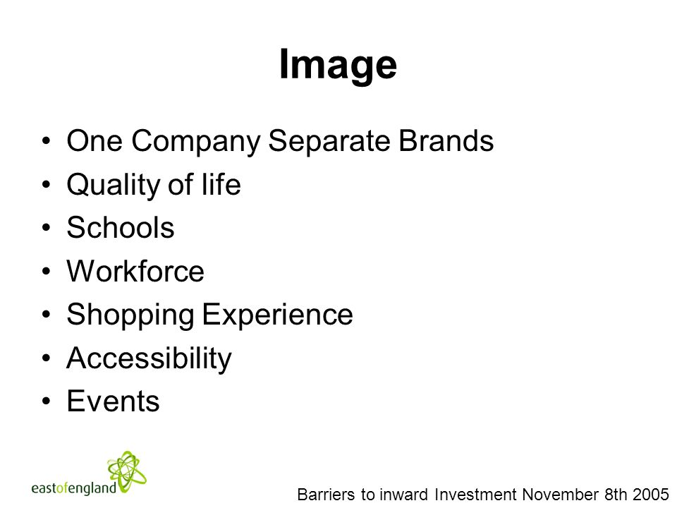 Image One Company Separate Brands Quality of life Schools Workforce Shopping Experience Accessibility Events Barriers to inward Investment November 8th 2005