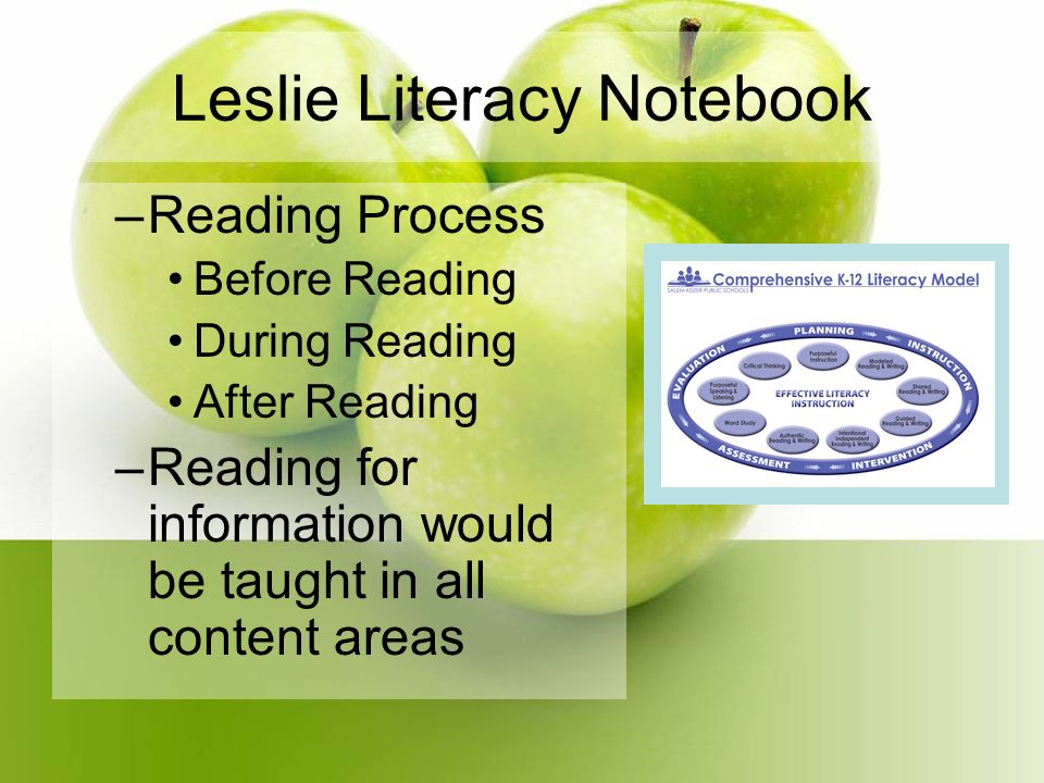 Leslie Literacy Notebook –Reading Process Before Reading During Reading After Reading –Reading for information would be taught in all content areas