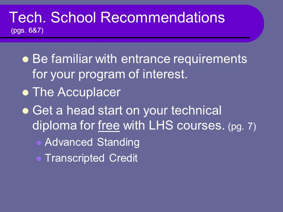 Tech. School Recommendations (pgs.