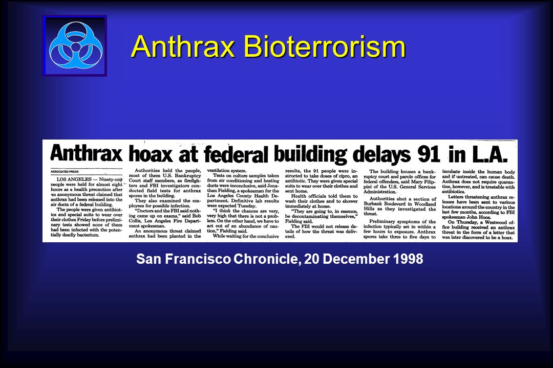 Anthrax Bioterrorism San Francisco Chronicle, 20 December 1998