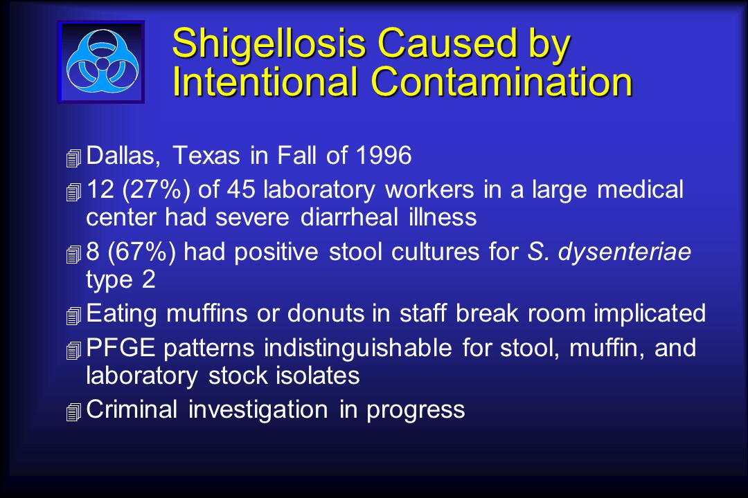 Shigellosis Caused by Intentional Contamination 4 Dallas, Texas in Fall of 1996 4 12 (27%) of 45 laboratory workers in a large medical center had severe diarrheal illness 4 8 (67%) had positive stool cultures for S.