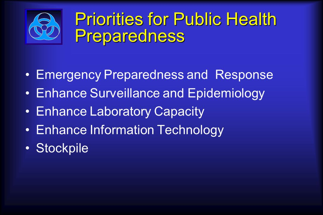 Priorities for Public Health Preparedness Emergency Preparedness and Response Enhance Surveillance and Epidemiology Enhance Laboratory Capacity Enhance Information Technology Stockpile