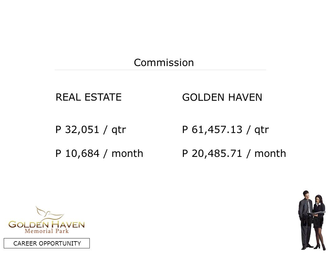 REAL ESTATE GOLDEN HAVEN Commission P 32,051 / qtr P 10,684 / month P 61, / qtr P 20, / month CAREER OPPORTUNITY