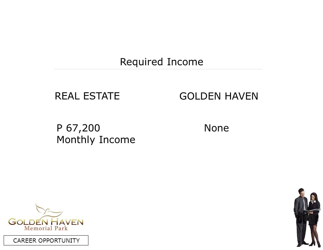 REAL ESTATE GOLDEN HAVEN Required Income P 67,200 Monthly Income None CAREER OPPORTUNITY
