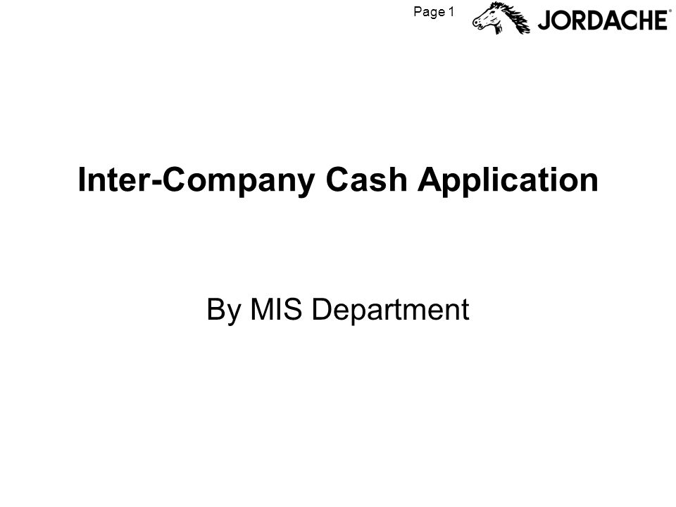 Page 1 Inter-Company Cash Application By MIS Department