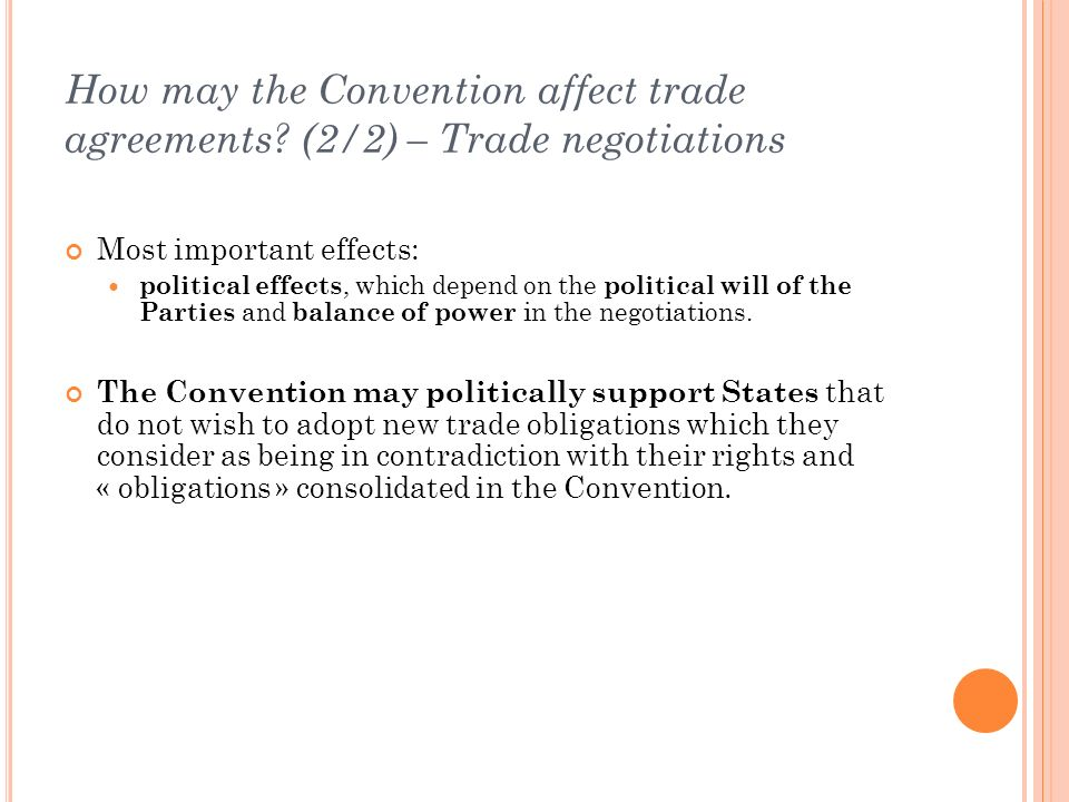 How may the Convention affect trade agreements.