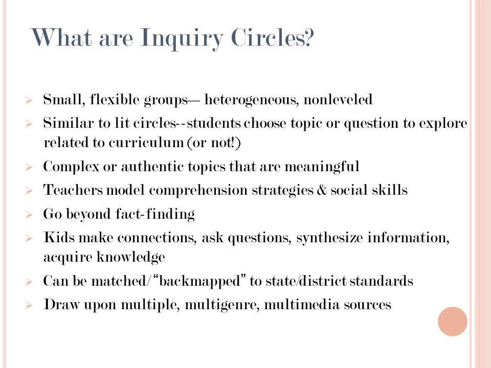 What are Inquiry Circles.