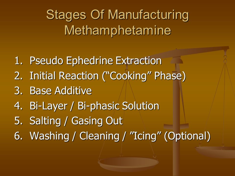 Stages Of Manufacturing Methamphetamine 1. Pseudo Ephedrine Extraction 2.