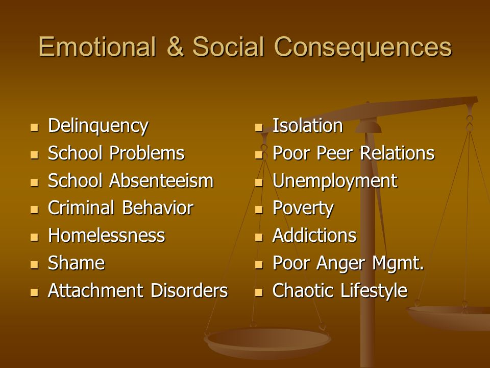 Emotional & Social Consequences Delinquency Delinquency School Problems School Problems School Absenteeism School Absenteeism Criminal Behavior Criminal Behavior Homelessness Homelessness Shame Shame Attachment Disorders Attachment Disorders Isolation Poor Peer Relations Unemployment Poverty Addictions Poor Anger Mgmt.