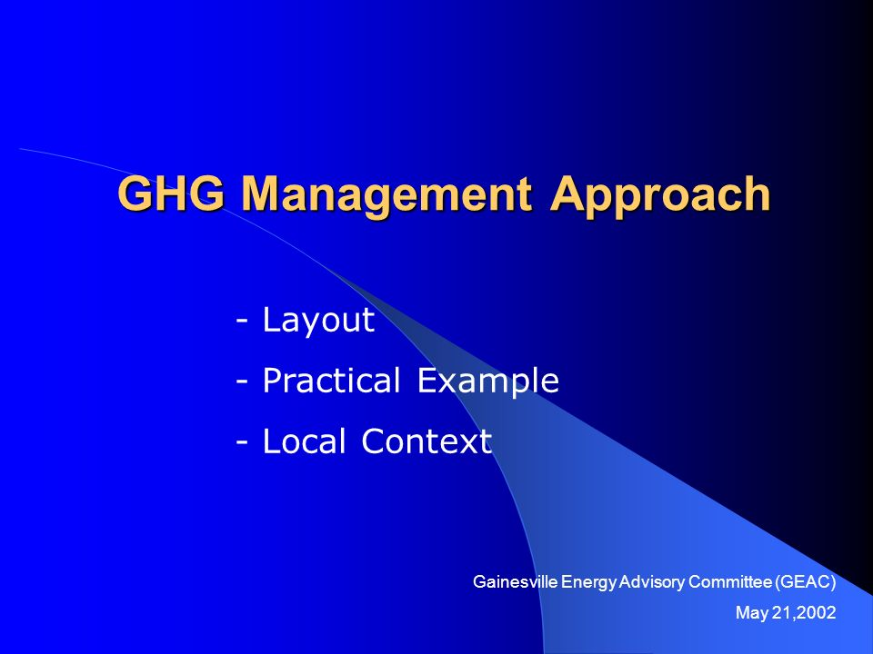 GHG Management Approach - Layout - Practical Example - Local Context Gainesville Energy Advisory Committee (GEAC) May 21,2002