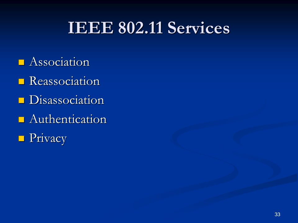 33 IEEE Services Association Association Reassociation Reassociation Disassociation Disassociation Authentication Authentication Privacy Privacy