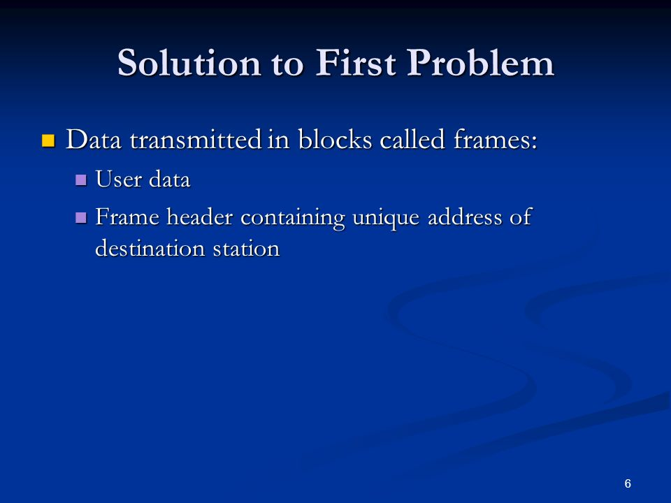 6 Solution to First Problem Data transmitted in blocks called frames: Data transmitted in blocks called frames: User data User data Frame header containing unique address of destination station Frame header containing unique address of destination station
