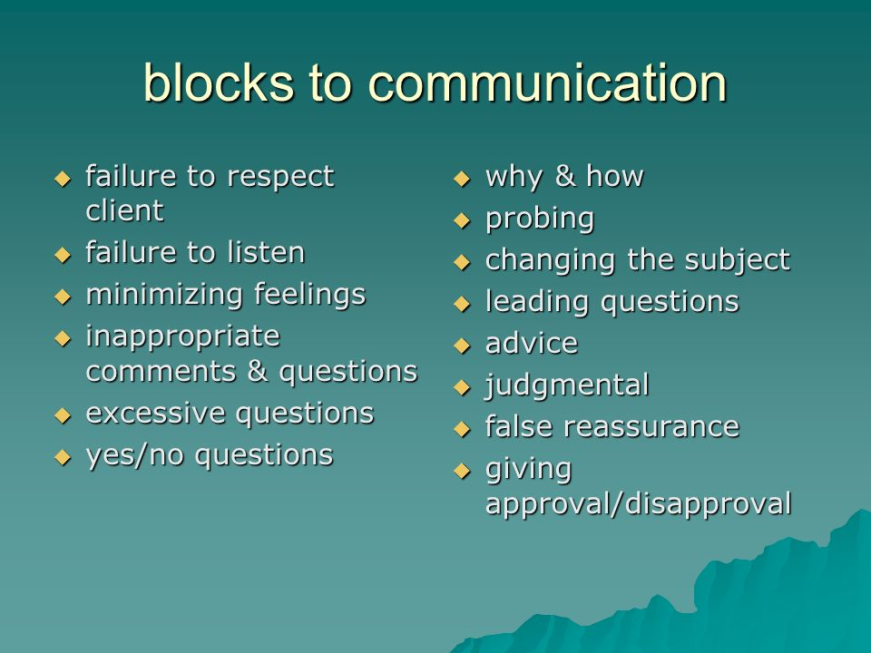 blocks to communication failure to respect client failure to respect client failure to listen failure to listen minimizing feelings minimizing feelings inappropriate comments & questions inappropriate comments & questions excessive questions excessive questions yes/no questions yes/no questions why & how why & how probing probing changing the subject changing the subject leading questions leading questions advice advice judgmental judgmental false reassurance false reassurance giving approval/disapproval giving approval/disapproval