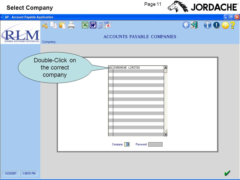 Page 11 Select Company Double-Click on the correct company