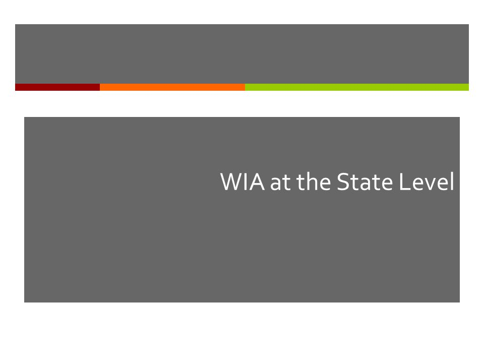 WIA at the State Level