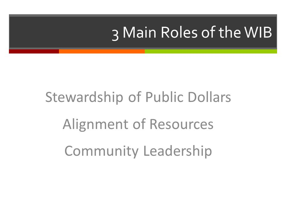 3 Main Roles of the WIB Stewardship of Public Dollars Alignment of Resources Community Leadership