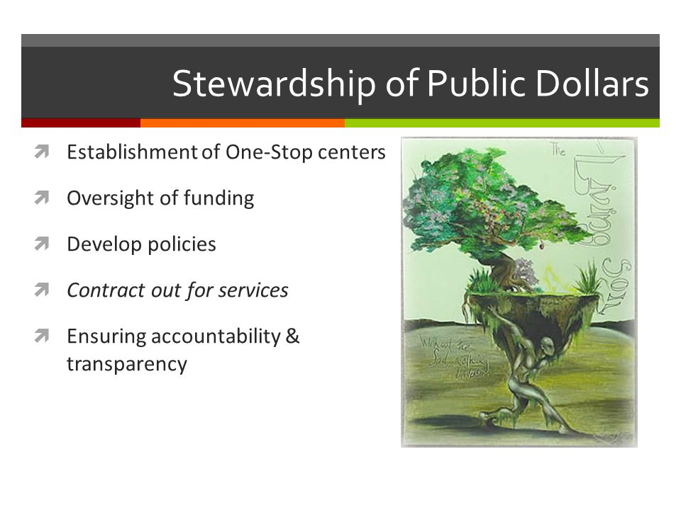 Stewardship of Public Dollars Establishment of One-Stop centers Oversight of funding Develop policies Contract out for services Ensuring accountability & transparency