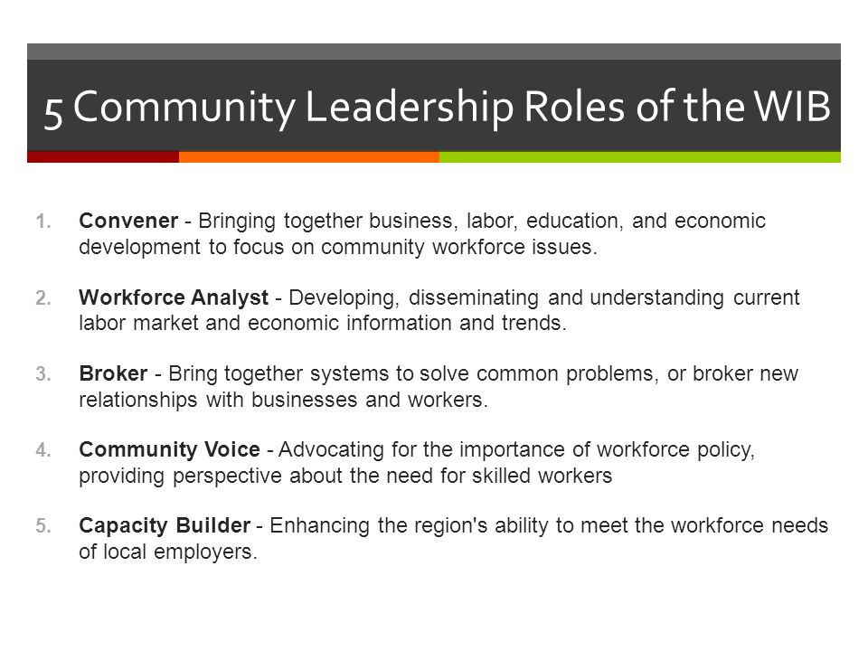 5 Community Leadership Roles of the WIB 1.