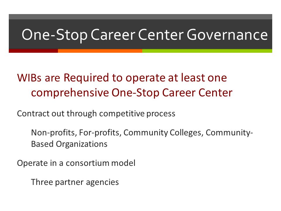One-Stop Career Center Governance WIBs are Required to operate at least one comprehensive One-Stop Career Center Contract out through competitive process Non-profits, For-profits, Community Colleges, Community- Based Organizations Operate in a consortium model Three partner agencies