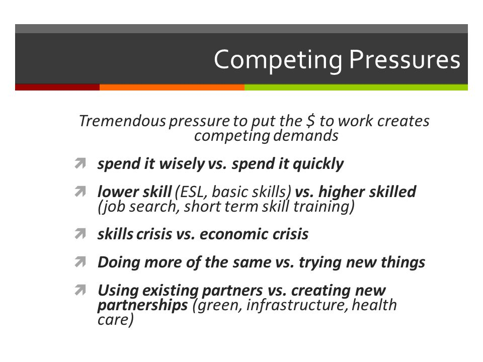 Competing Pressures Tremendous pressure to put the $ to work creates competing demands spend it wisely vs.
