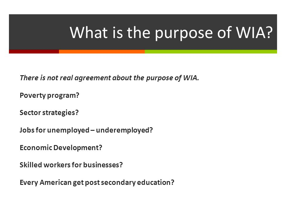 What is the purpose of WIA. There is not real agreement about the purpose of WIA.