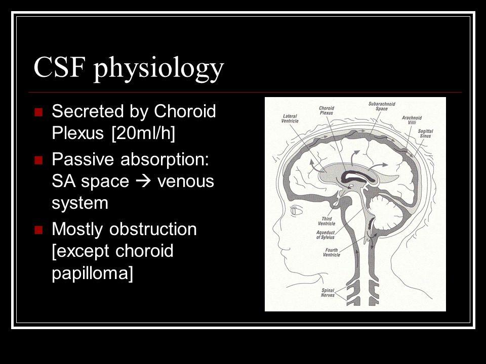 CSF physiology Secreted by Choroid Plexus [20ml/h] Passive absorption: SA space venous system Mostly obstruction [except choroid papilloma]