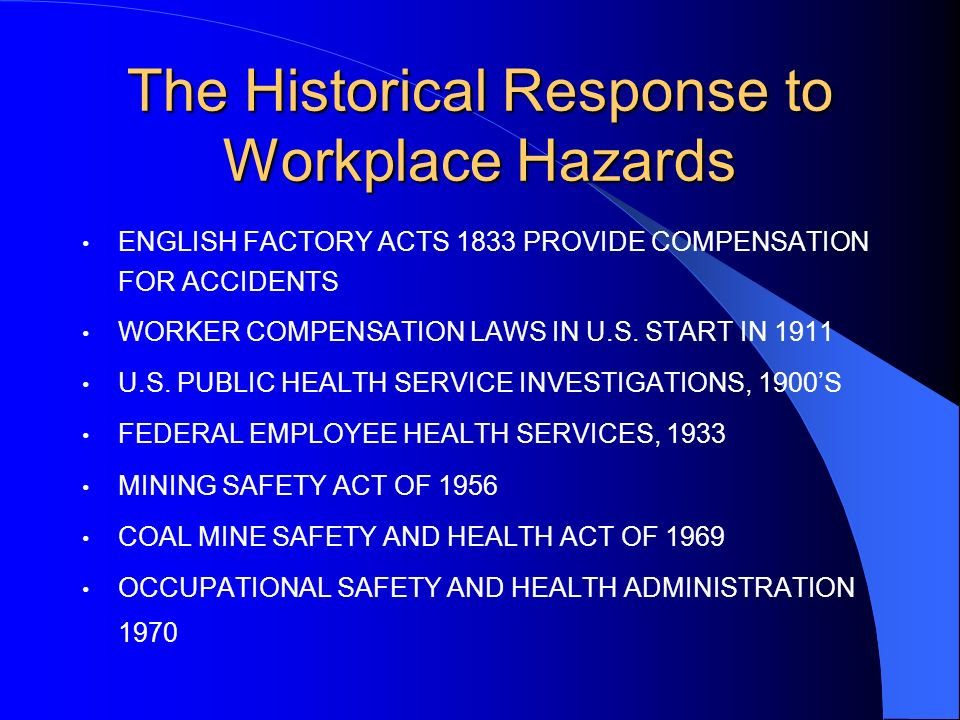 The Historical Response to Workplace Hazards ENGLISH FACTORY ACTS 1833 PROVIDE COMPENSATION FOR ACCIDENTS WORKER COMPENSATION LAWS IN U.S.