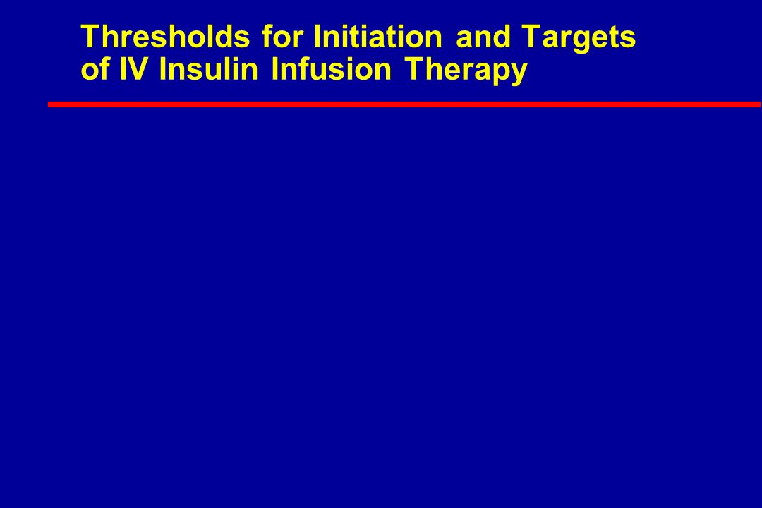 Thresholds for Initiation and Targets of IV Insulin Infusion Therapy