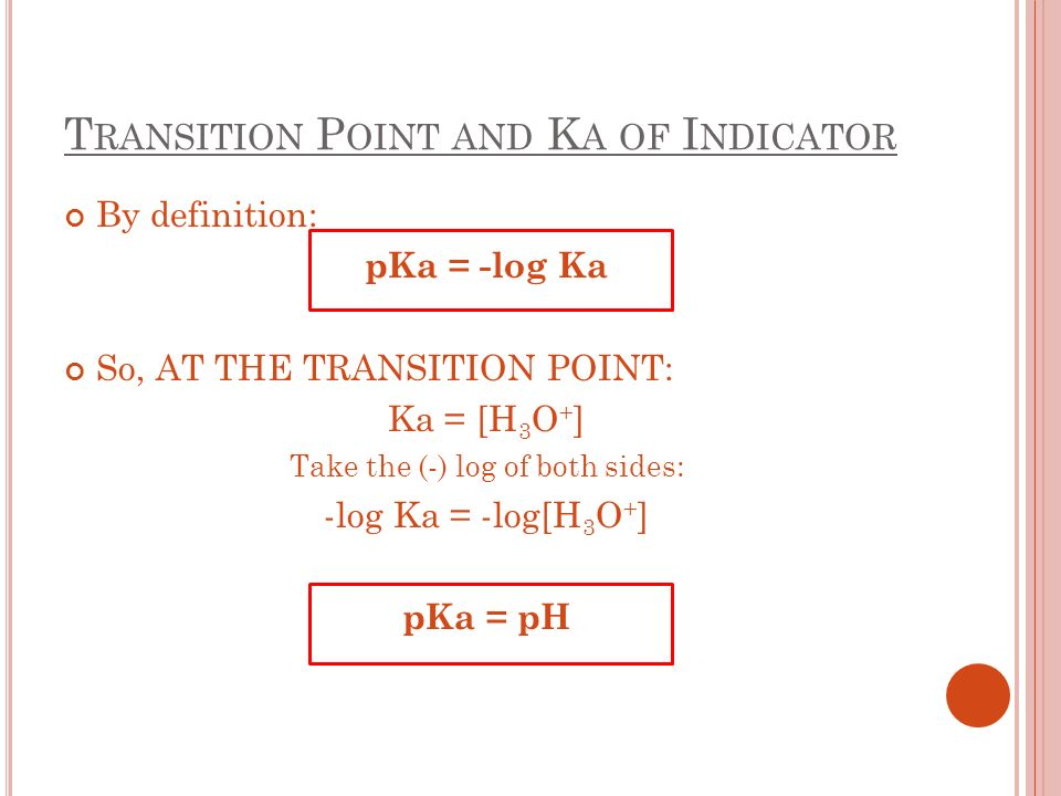 T RANSITION P OINT AND K A OF I NDICATOR By definition: pKa = -log Ka So, AT THE TRANSITION POINT: Ka = [H 3 O + ] Take the (-) log of both sides: -log Ka = -log[H 3 O + ] pKa = pH