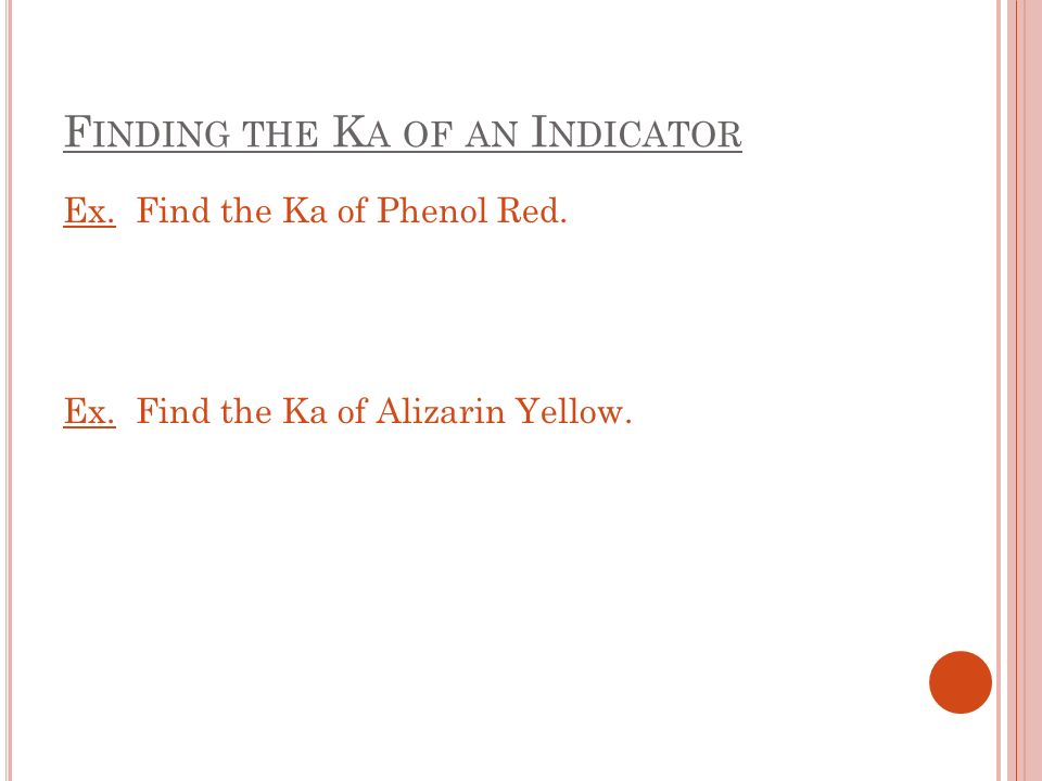 F INDING THE K A OF AN I NDICATOR Ex. Find the Ka of Phenol Red.