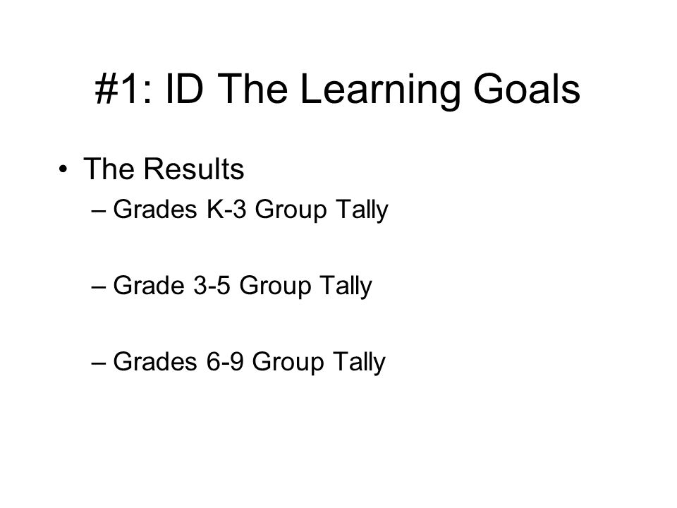 #1: ID The Learning Goals The Results –Grades K-3 Group Tally –Grade 3-5 Group Tally –Grades 6-9 Group Tally