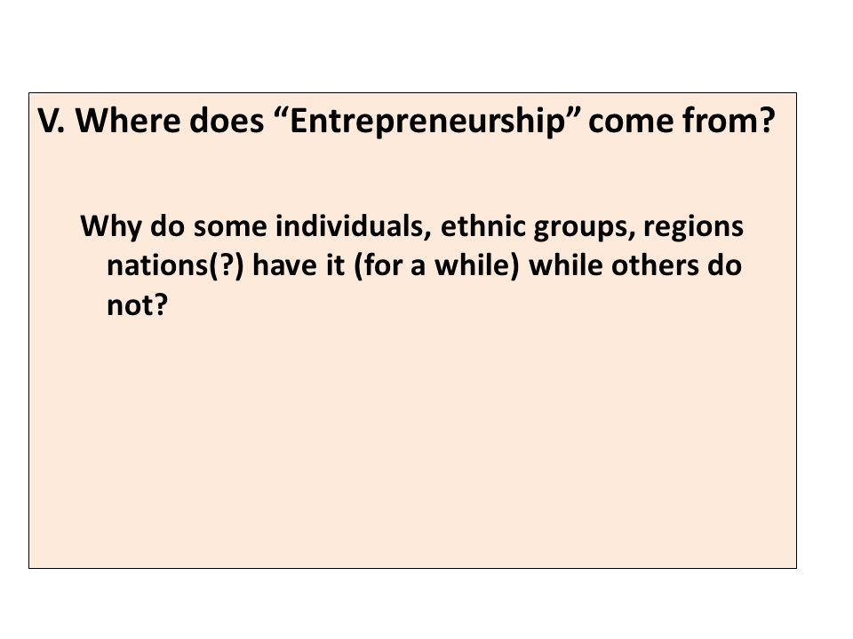 V. Where does Entrepreneurship come from.