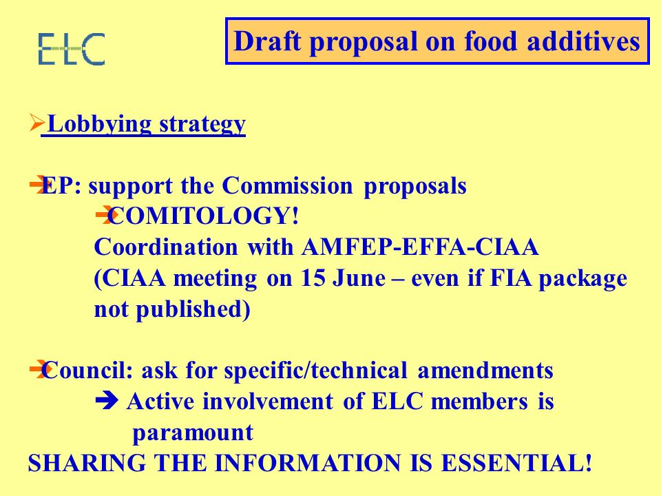 Lobbying strategy EP: support the Commission proposals COMITOLOGY.