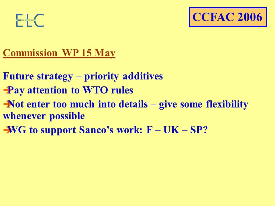 Commission WP 15 May Future strategy – priority additives Pay attention to WTO rules Not enter too much into details – give some flexibility whenever possible WG to support Sancos work: F – UK – SP.