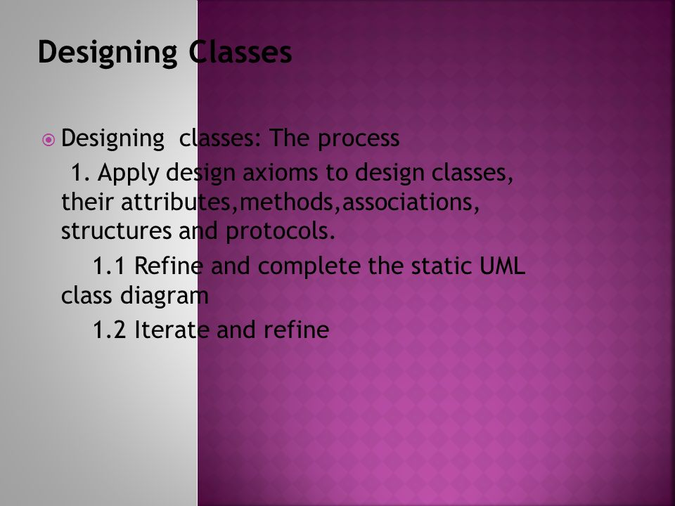 Designing classes: The process 1.