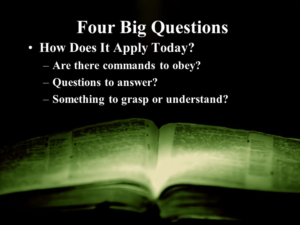 Four Big Questions How Does It Apply Today. –Are there commands to obey.