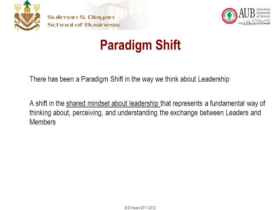 © Dr Karam Paradigm Shift There has been a Paradigm Shift in the way we think about Leadership A shift in the shared mindset about leadership that represents a fundamental way of thinking about, perceiving, and understanding the exchange between Leaders and Members 10
